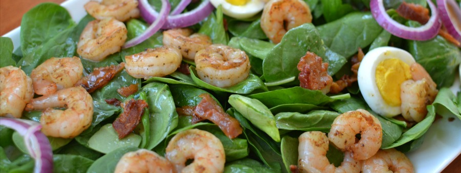 Shrimp & Spinach with Warm Bacon Dressing