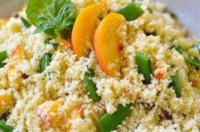 Couscous with Fresh Peaches & Sugar Snap Peas