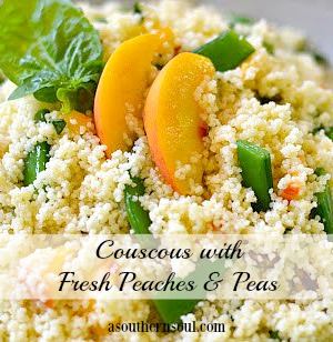couscous fresh peaches & sugar snap peas