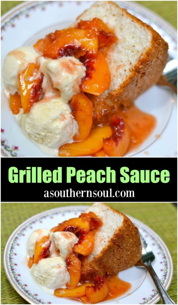 Grilled Peach Sauce made with fresh peaches, brown sugar, honey and cinnamon is perfect with ice cream or cake.