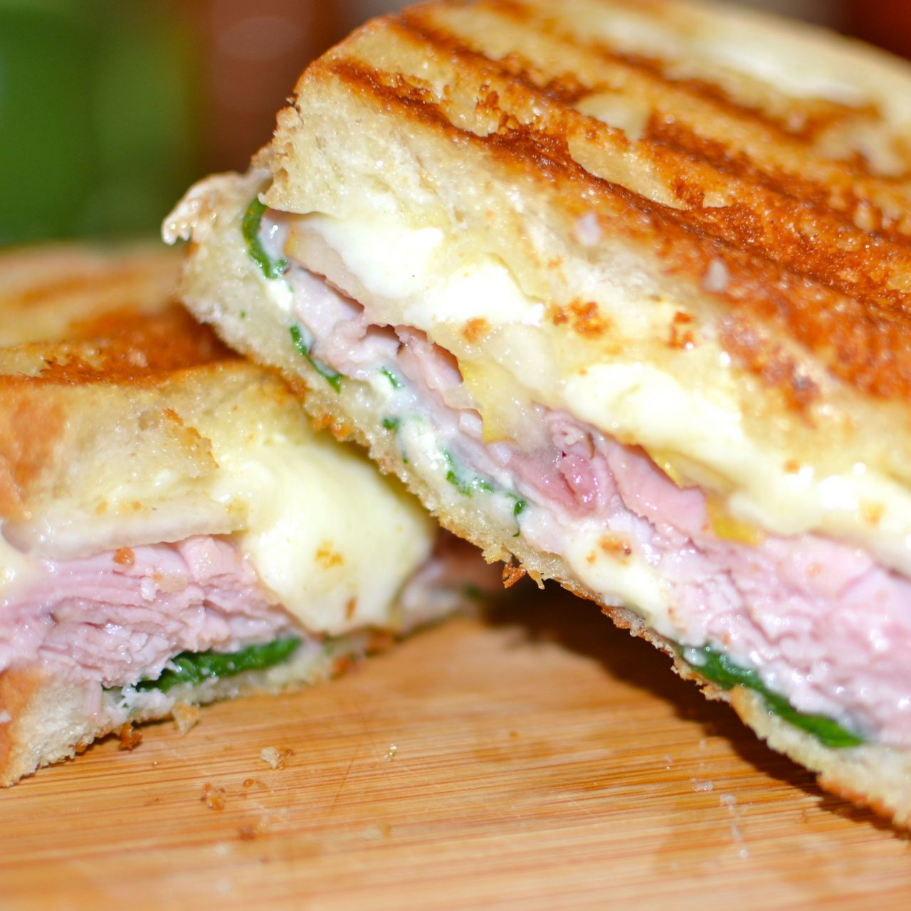 Ham & Cheese Panini with Pears & Spinach