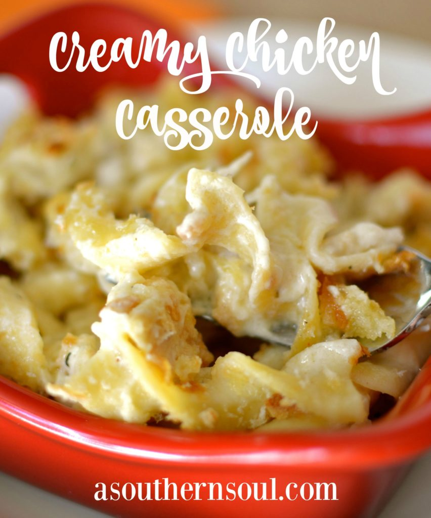 creamy chicken casserole close