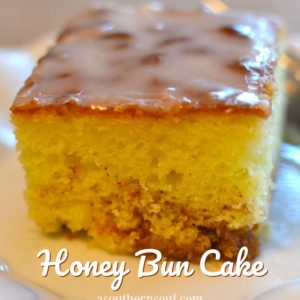 honey bun cake with brown sugar, cinnamon and a simple icing glaze