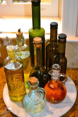 lazy susan, vinegar, olive oil, kitchen help, kitchen hacks