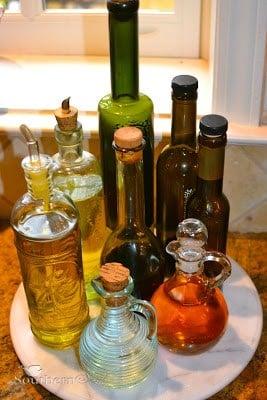 lazy susan, vinegar, olive oil, kitchen help, kitchen hacks
