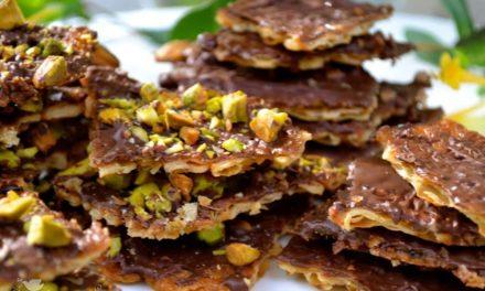 Chocolate and Pistachio Matzoh