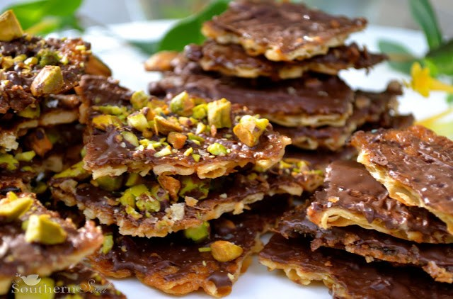 Chocolate and Pistachio Matzoh