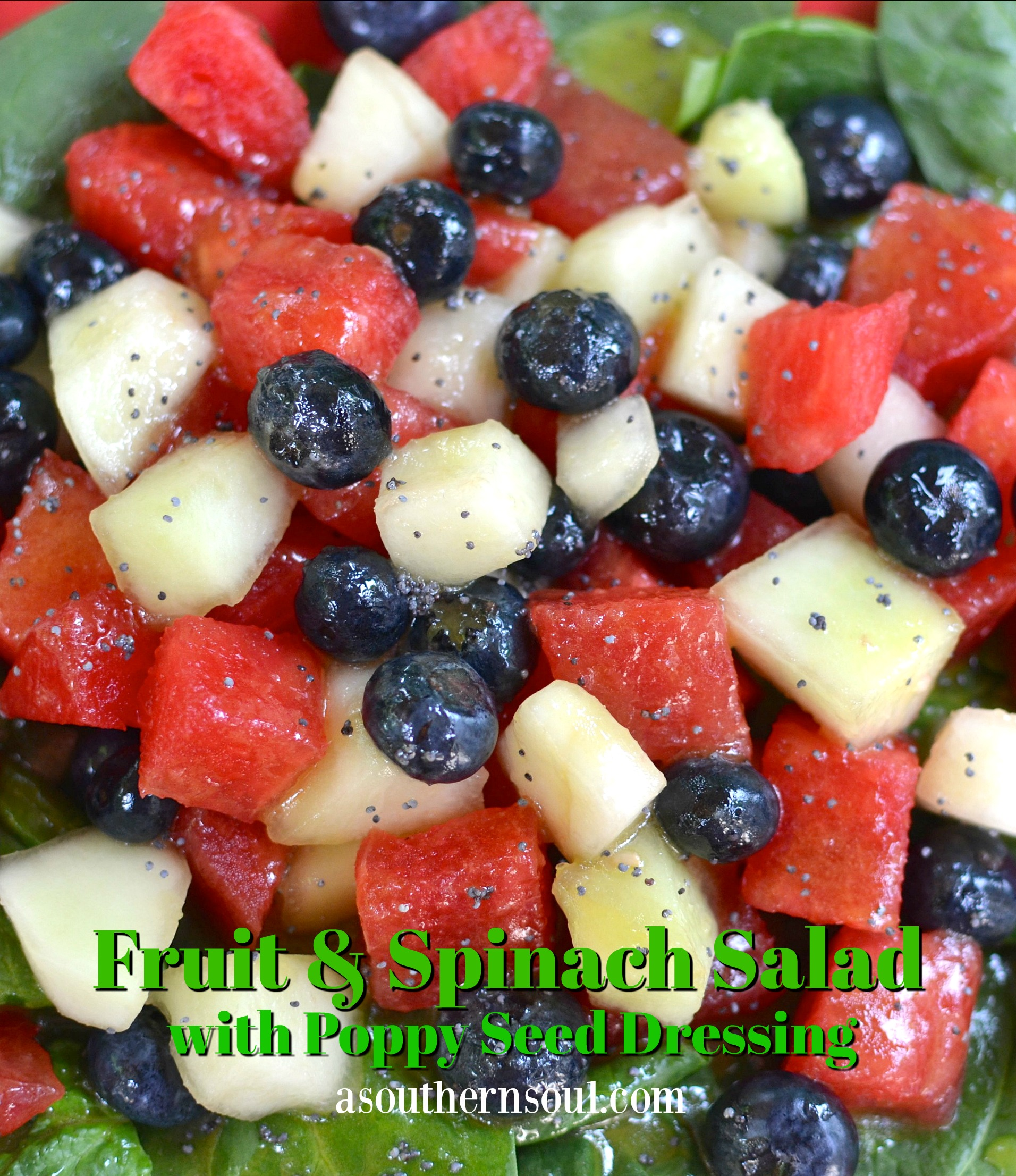 fruit & spinach with poppy seed dressing