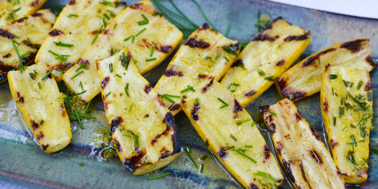 Grilled Yellow Squash with Lemon & Chive Vinaigrette