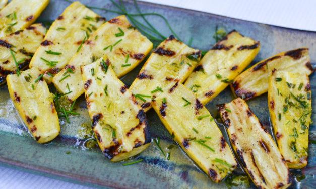 Grilled Yellow Squash with Lemon & Chive Vinaigrette