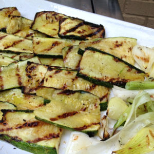 Grilled zucchini and spring onions are a simple dish perfect for summer.