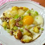Eggs Over Crushed Potatoes