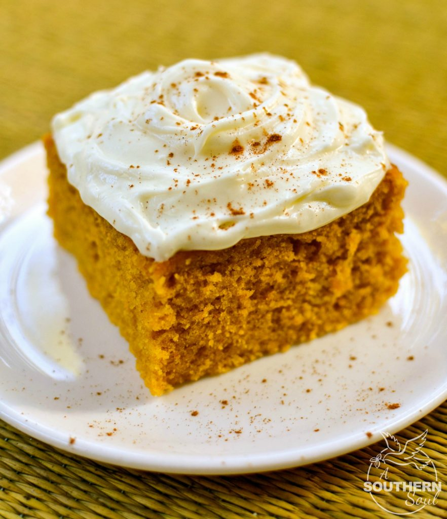 Tender, fluffy pumpkin cake squares topped with sweet, cream cheese frosting are easy to make and yummy to eat!