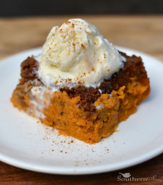 Pumpkin Spice Dump Cake with Ice Cream