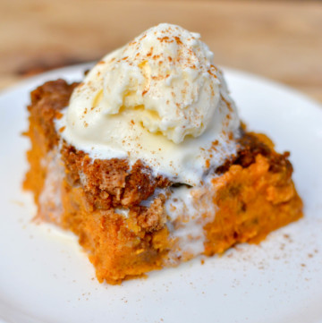 Pumpkin Spice Dump Cake many have a funny name but after just one bit you'll be impressed. Rich with fall flavors of warm spices, this easy to make cake will have everyone asking for seconds!