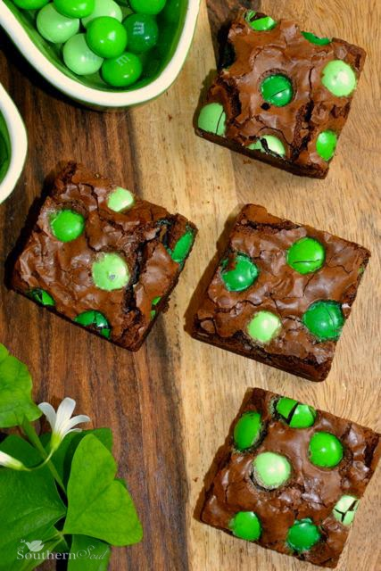 Chocolate Brownies with mint M&M's | A Southern Soul