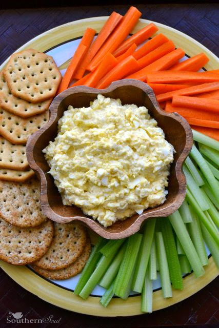 Deviled Egg Dip with Crackers