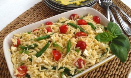 Pasta Salad ~ Orzo with Fresh Vegetables & Feta