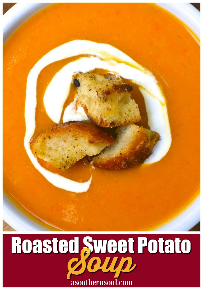 Roasted sweet potatoes blended into a smooth rich soup is a big bowl of comfort. Add in homemade croutons for a delicious meal.