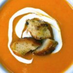 sweet potato soup with homemade croutons
