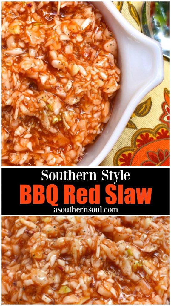 BBQ Red Slaw is a classic southern dish made with cabbage, ketchup, vinegar, sugar and just the right amount of salt and pepper.