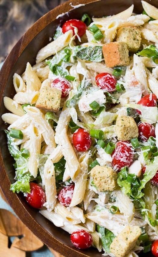 http://spicysouthernkitchen.com/caesar-pasta-salad/
