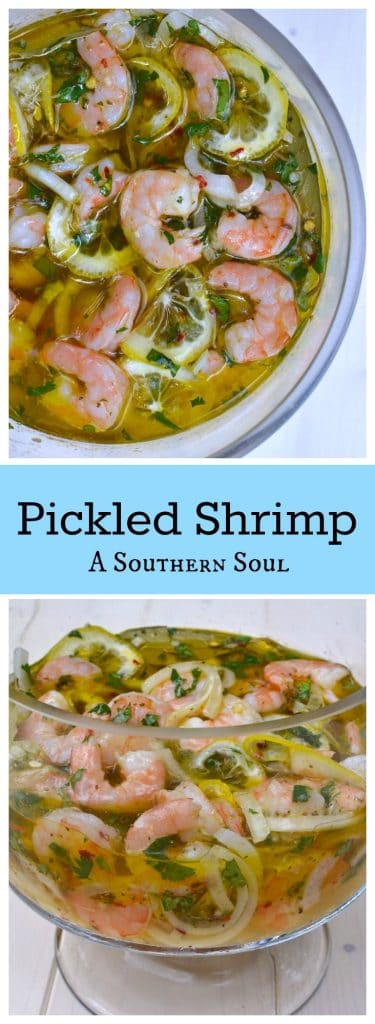 Pickled Shrimp made with lemons, onions, olive oil and spices is a dish that great for parties and as an appetizer when entertaining.