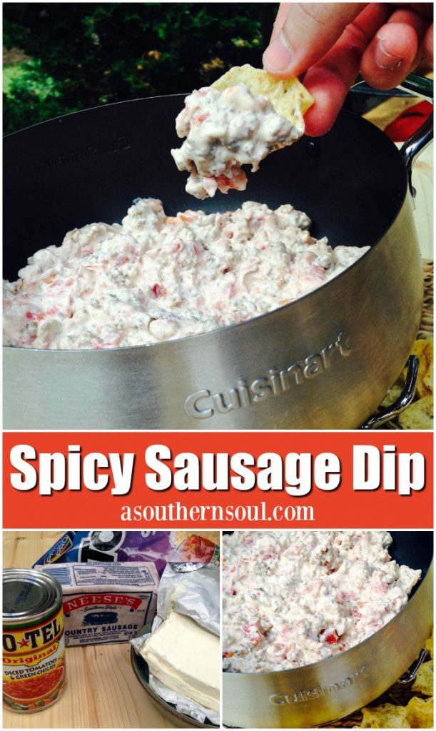Spicy sausage dip made with Ro-tel tomoates and cream cheese is a sinfully good appetizer that's hard to stop eating!