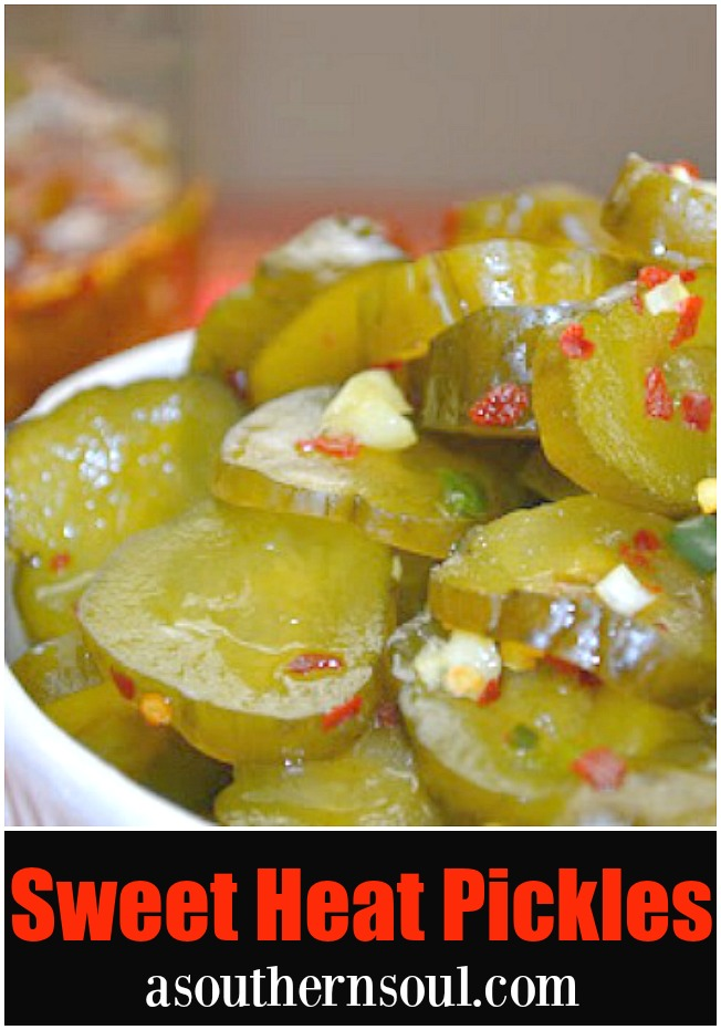 Sweet heat pickles made with dill, herbs and hot peppers are great for snacking, on burgers, dogs and perfect for game day.