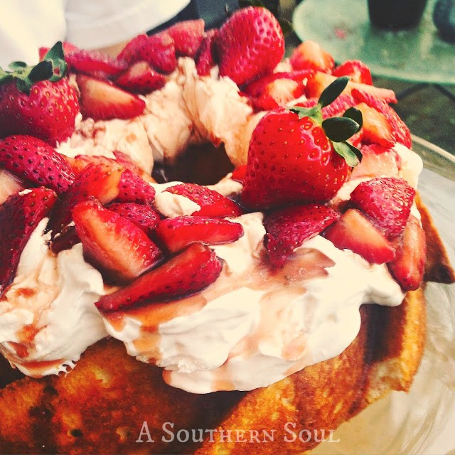 Sugar Balsamic Strawberries with cake and whipped cream