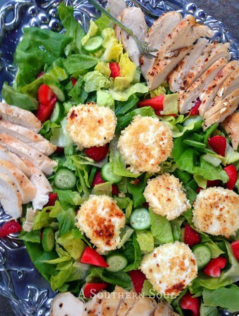 Chicken & Goat Cheese Salad, strawberries, grilled, greens, salads