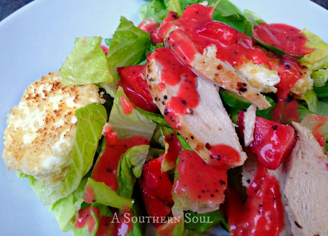 Strawberry Dressing & Goat Cheese Salad, chicken, grilled, greens, recipes, salads