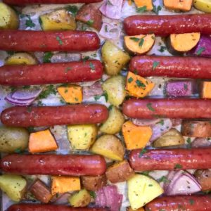 sheet pan brats and veggies