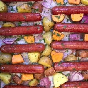 sheet pan brats and veggies