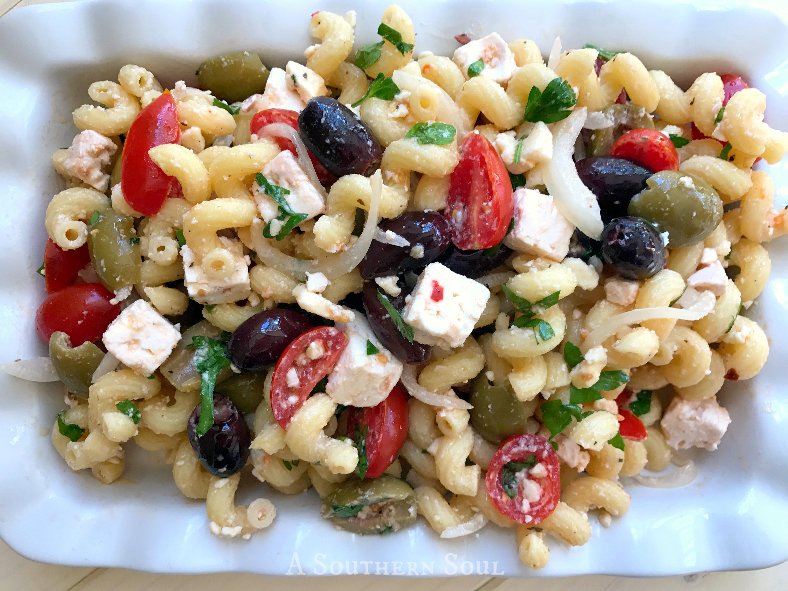 greek pasta salad with olives