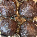 Sheet Pan Hamburger Steak with Mushrooms & Onions