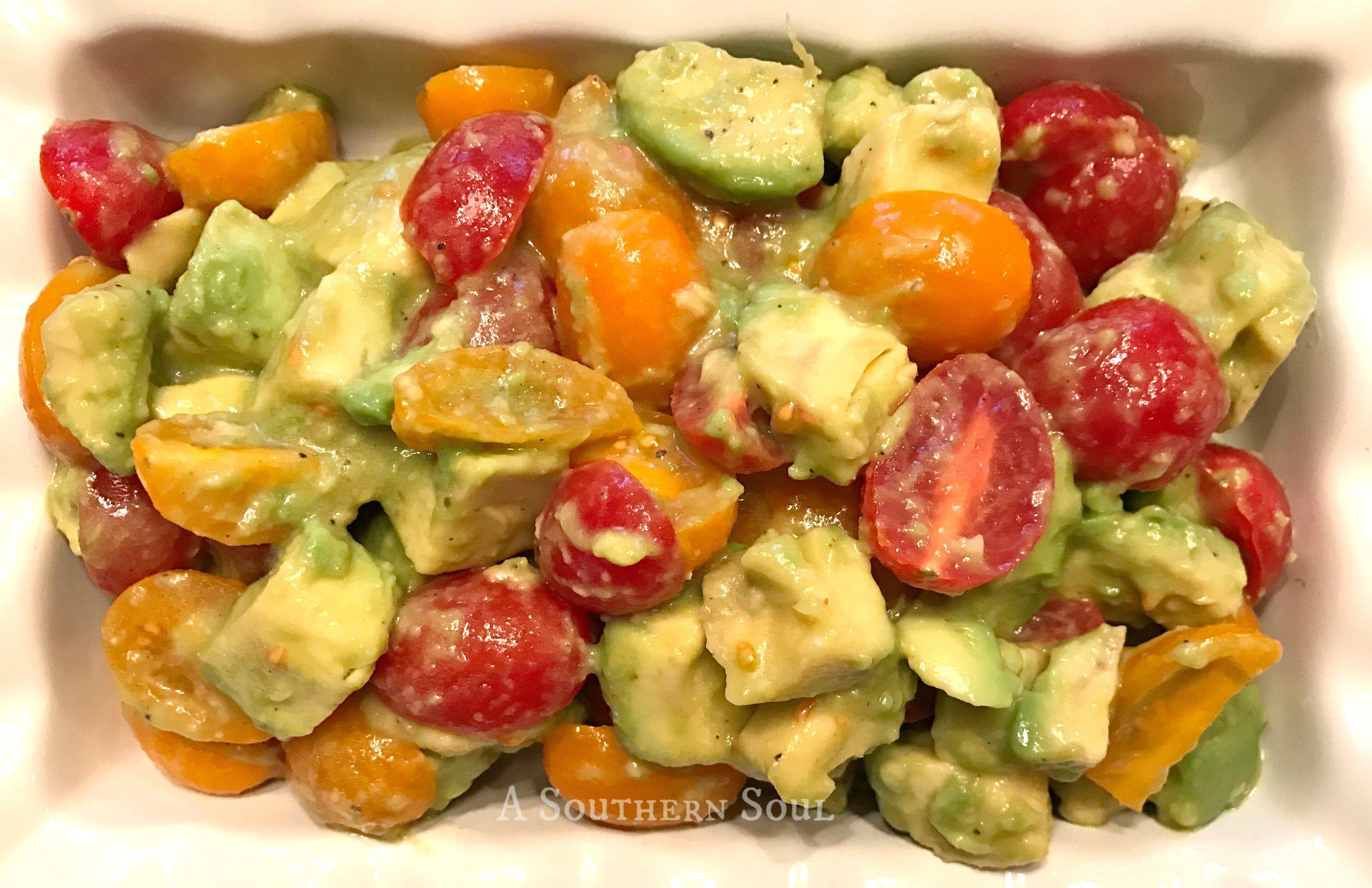 avocado tomato salad on plate