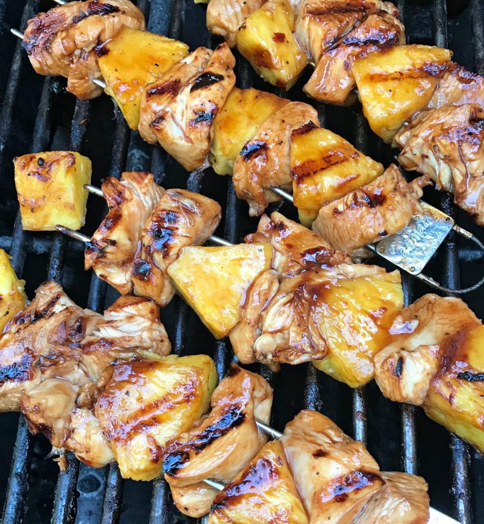 chicken pineapple skewers close up