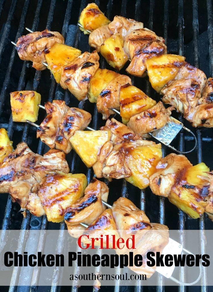 Chicken & pineapple skewers grilled