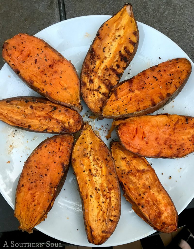 grilled sweet potatoes with smoked paprika