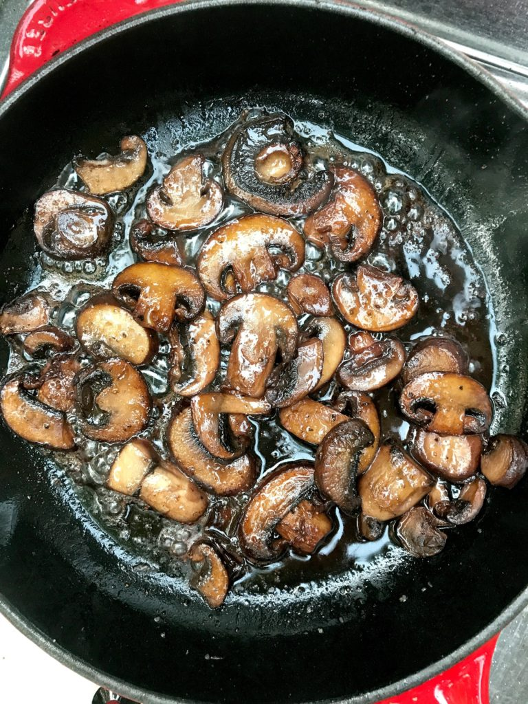 sautéed mushrooms on grill finished