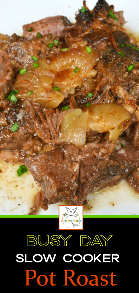 Busy Day Slow Cooker Pot Roast is tender and juicy. Made with onions and beef stock.