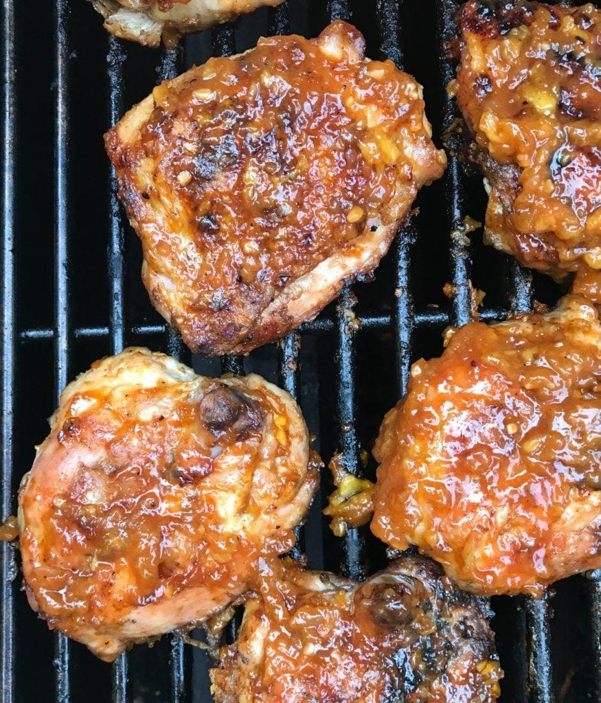 peachy bourbon bbq sauce glazed chicken