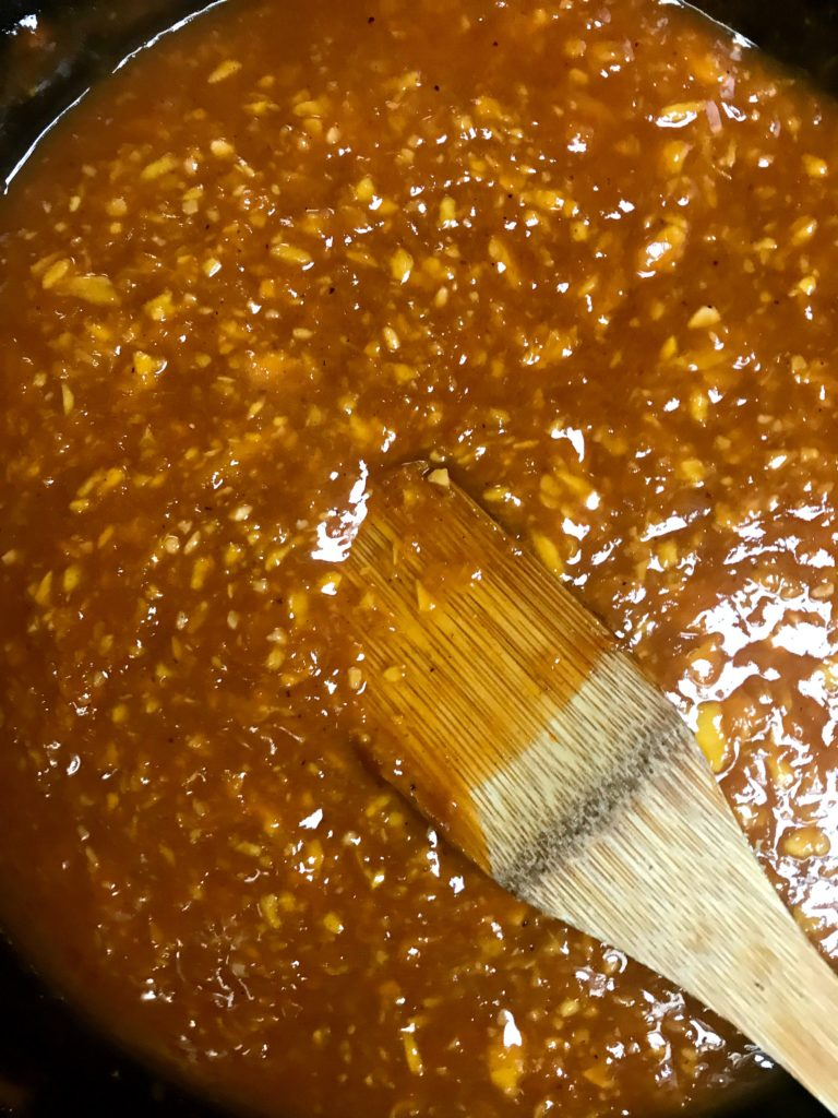 peach & bourbon BBq sauce in pan