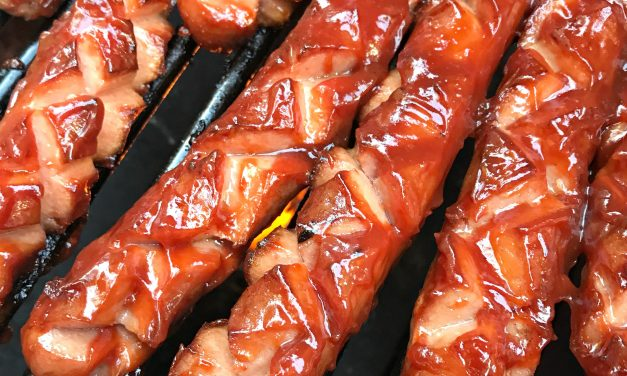 Grilled Barbecued Hot Dogs