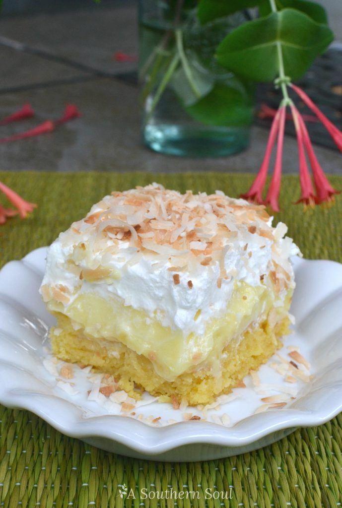 pineapple coconut poke cake table