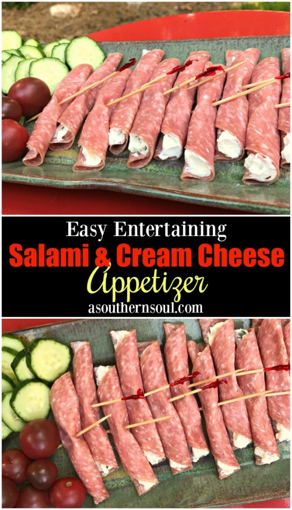 Sliced salami filled with cream cheese mixed with herb cheese spread is a quick appetizer to make for friends.