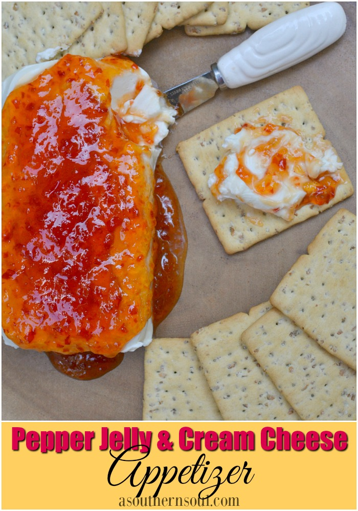 Red pepper jelly and cream cheese appetizer is a classic southern appetizer that gets rave reviews!