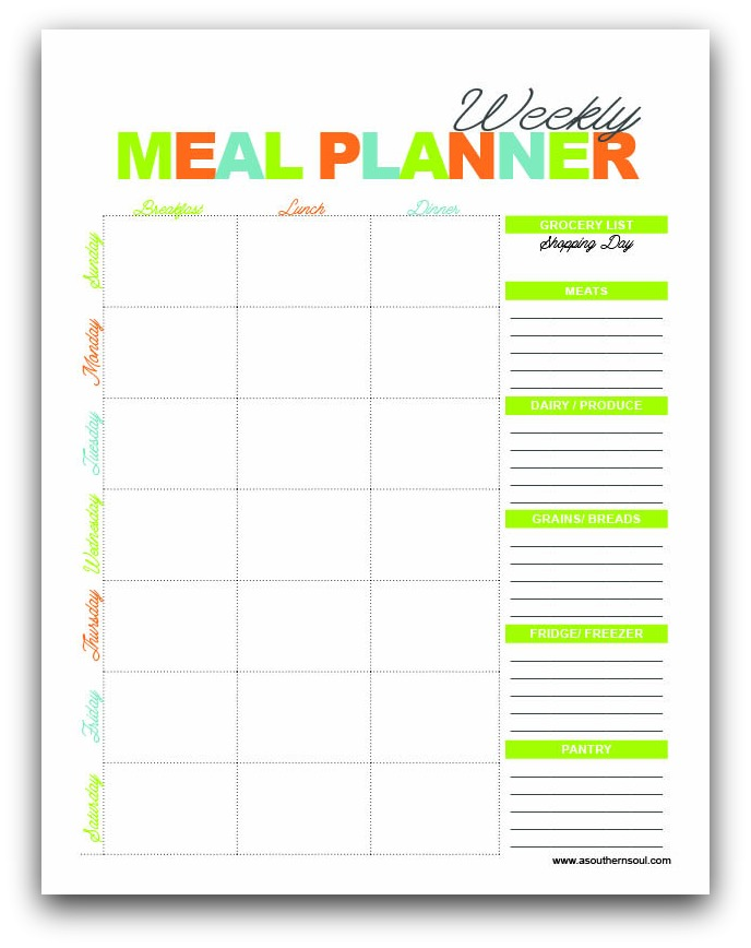 Free Meal Planning Printables  A Southern Soul