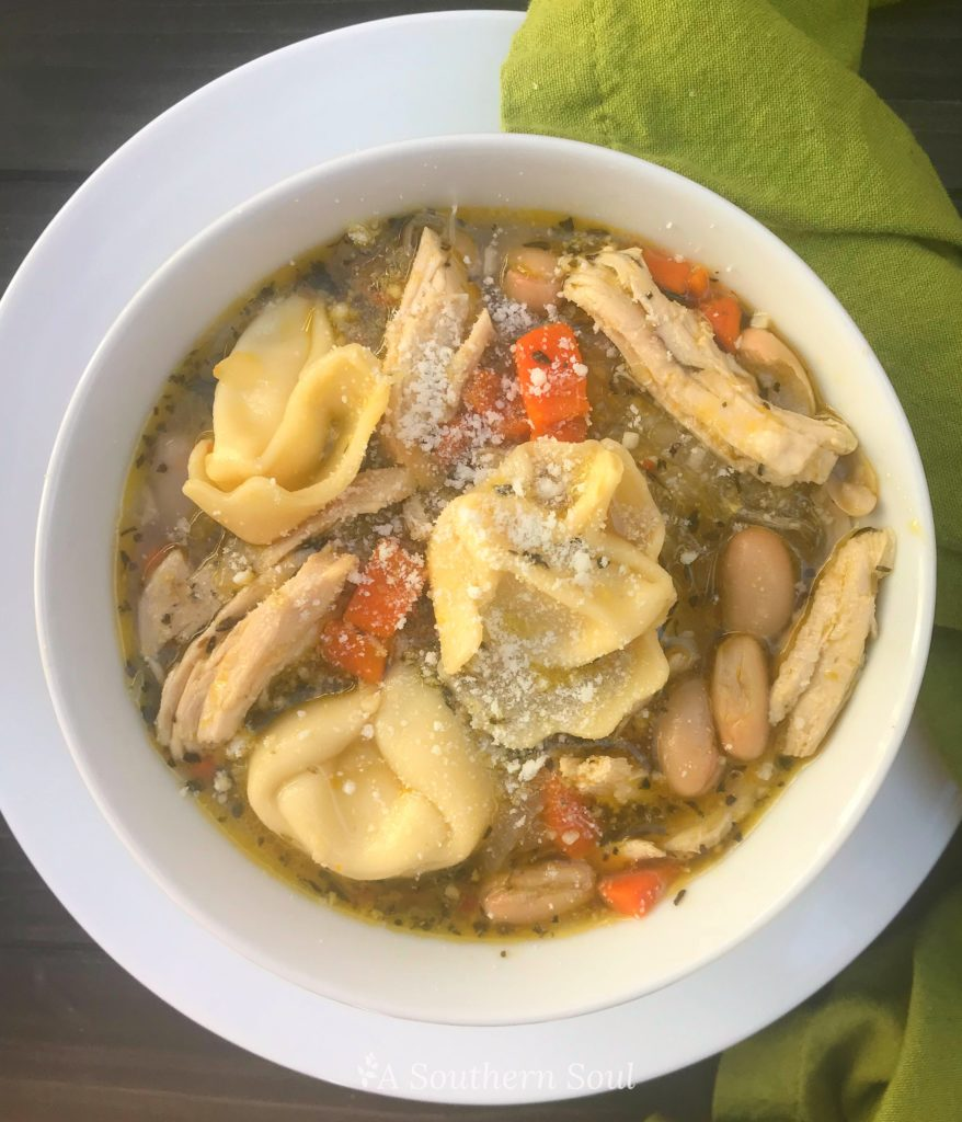 Tuscan soup with beans, chicken and cheese tortellini